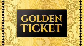 Golden ticket template, Concert ticket on gold background with curve floral pattern royalty free illustration