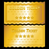 Golden tickets. Illustration of golden tickets on black background Stock Photos
