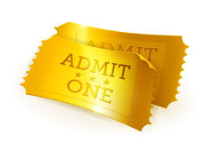 Golden tickets. Icon illustration on white Royalty Free Stock Images