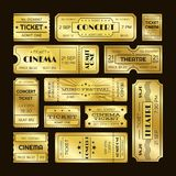 Golden tickets. Admit one gold movie ticket set. Vip party coupon vector templates. Golden tickets. Admit one gold movie ticket set. Vip party theatre concert royalty free illustration