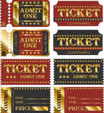 Golden tickets Stock Images