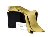Golden Tie Gift Set. Gold tie with an empty card for the man in your life, isolated on a white background Stock Photos