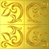 Golden tile with floral ornament Royalty Free Stock Images