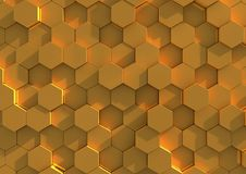 Golden tiled background. Abstract background of golden hexagonal tiles Stock Photo
