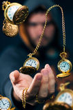 Golden time traveler. The power to time travel stock photo