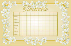 Golden timetable with jasmine vector Royalty Free Stock Photo