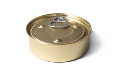Golden tin can. Isolated on a white background Royalty Free Stock Photos
