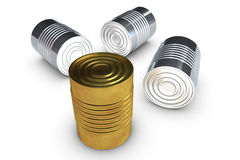 Golden tin cans Royalty Free Stock Photo