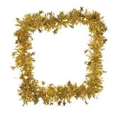 Golden tinsel as a frame. Stock Photo