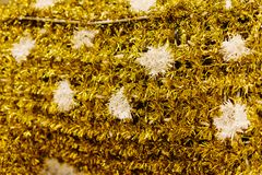 Golden tinsel texture stock photos