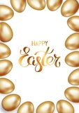 Golden title of Happy Easter with frame or border of gold Easter eggs on white background. Invitation background. Greeting card. Template design, vector vector illustration