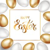 Golden title of Happy Easter in the frame with a border of gold and white Easter eggs on a white background. Invitation background. Template design, greeting stock illustration
