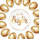 Golden Happy Easter in round frame a border of gold and white Easter eggs on white background. Greeting card, vector. Golden title of Happy Easter in round frame royalty free illustration