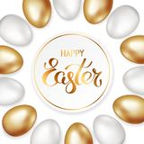Golden title of Happy Easter in round frame with border of gold and white Easter eggs on white background. Invitation background. Template design, greeting vector illustration