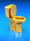 Golden toilet bowl Stock Photo