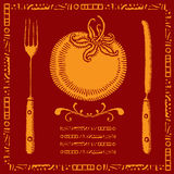 Golden tomato menu illustrations Royalty Free Stock Photo