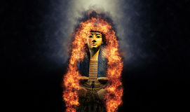 Golden Tomb of Egyptian King on Fire Stock Photography
