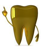 Golden tooth character, insight Royalty Free Stock Image