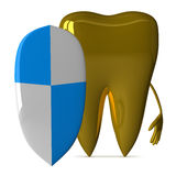 Golden tooth with shield Stock Photos
