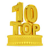 Golden Top 10 podium Royalty Free Stock Photo
