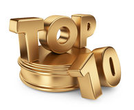 Golden top 10 on podium. 3D icon. On white background Royalty Free Stock Photography