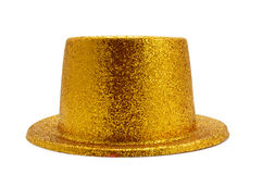 Golden top hat. A golden top hat on a white background Royalty Free Stock Images