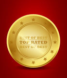 Golden top rated badge. Abstract background Royalty Free Stock Image