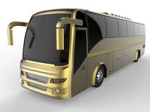 Golden tour bus. 3D render illustration of a golden tour bus. The object is isolated on a white background with shadows stock illustration