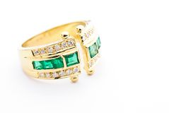 Golden tourmaline ring Stock Image
