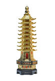 Golden tower. Chines golden pagoda in white background Stock Photos