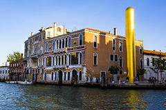 golden tower by artist james lee byars, the venice art biennale, Italy 2017-08-22 stock photo