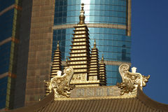 Golden tower in Jingan Temple Royalty Free Stock Photo
