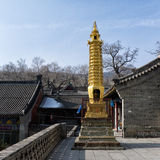 Golden tower of a temple. The temple in wutai, shanxi province of China, with a golden tower as the symbol of sanctity Stock Photography