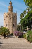 Golden tower or Torre del Oro along the Guadalquivir river, Seville, Andalusia, Spain. stock image