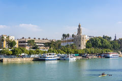 Golden tower or Torre del Oro, along the Guadalquivir river, Seville, Spain. Golden tower or Torre del Oro along the Guadalquivir river, Seville, Andalusia royalty free stock photography