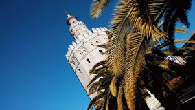 Golden tower Torre del Oro in Seville with beautiful palm leav. Es at the foreground with a deep blue sky at the background. Andalusia, Spain Stock Photo