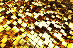 Golden Towers. 3D Golden Blocks Abstract Background royalty free illustration