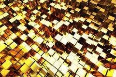 Golden Towers. 3D Golden Blocks Abstract Background Stock Photos