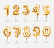 Golden toy balloons 3d vector number set. Vector cartoon illustation of Golden toy balloons. Inflatable gold balloon numbers. Holiday and party. 3d vector icon Royalty Free Stock Images
