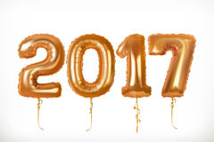 Golden toy balloons. Year 2017. Vector icon Royalty Free Stock Images