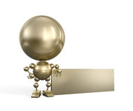 Golden toy with empty board Royalty Free Stock Photo