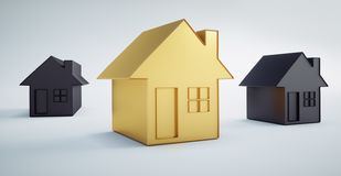 Small golden house between black houses vector illustration