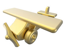 Golden toy plane. 3D rendered illustration of a golden toy plane. The composition is  on a white background with no shadows Stock Images