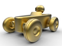 Golden toy race car Royalty Free Stock Photos
