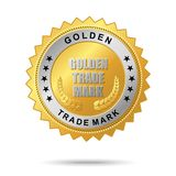 Golden trade mark label Stock Photography