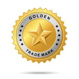 Golden trade mark label. Royalty Free Stock Image