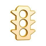 Golden traffic light symbol. Isolated on white background Royalty Free Stock Photography