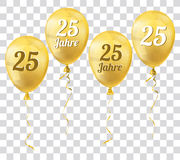 Golden Transparent Balloon 25 Jahre Royalty Free Stock Image