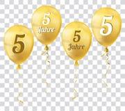 Golden Transparent Balloon 5 Jahre Royalty Free Stock Photo