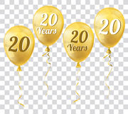 Golden Transparent Balloon 20 Years. Golden transparent balloons with text 20 Years Stock Photo